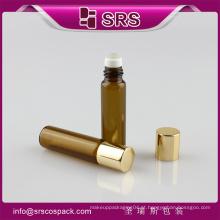 5ml rolo de vidro cor âmbar em garrafa com metal e garrafa bola pp, garrafas de óleo de massagem