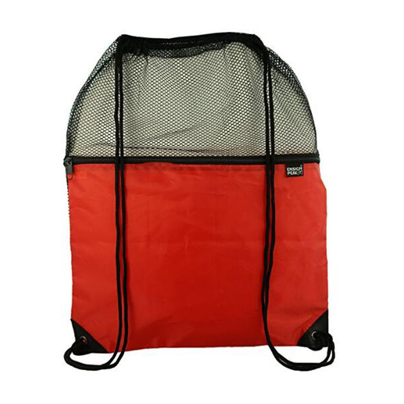 Red Mesh Drawstring Backpack