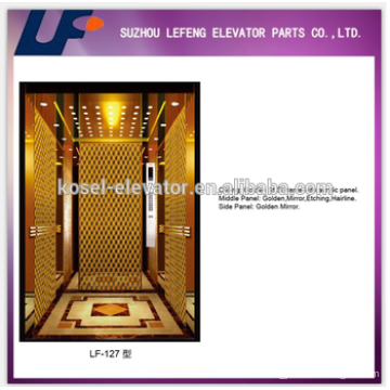Golden Mirror Etching Hairline Passenger Elevators Cabin