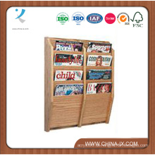 4-Tiered 8 Pockets Holz Magazin Regal für die Wand