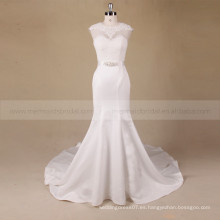 Vestido de boda del cordón de la parte posterior del hueco del cuello de la cucharada de la sirena del estilo de la manera con el rebordear en la cintura