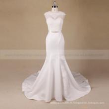 Mode style sirène scoop cou sexy arrière creux robe de mariée en dentelle avec perles sur la taille