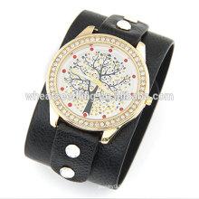2014 Teenage New Fashion Wide Strap mit Lucky Tree Freizeit Leder Armband Uhr für Frauen