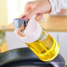 Glass Oil Pot Household Leak Proof Oil Bottle Kitchen Automatic Opening and Closing with Cover Seasoning Bottle Oil Vinegar Bottle Oil Tank Pot