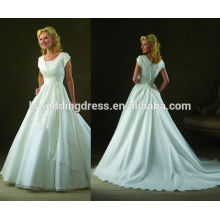 WD0154 scoop encolure capuchon manche rayons laser fleurs à côté de ceinture attachée empire taille élastique jupe organza robe de mariée de plage