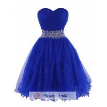 Oem Wholesale 2016 Gorgeous Genou Longueur Organza Beads Royal Blue Robes de bal Robe de fête