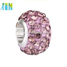 Precio del fabricante cuentas de cristal de arcilla de polímero de gran agujero de diamantes de imitación