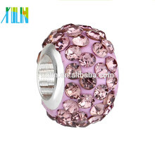 Manufacturer price rhinestone big hole polymer clay crystal Beads