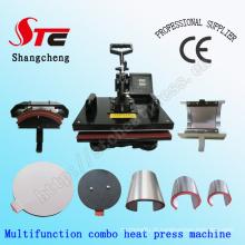 Máquina multifunções da imprensa do calor da combinação 8 em 1 máquina da imprensa do calor do t-shirt Máquina multifuncional da transferência de calor da música do corpo Stc-SD08