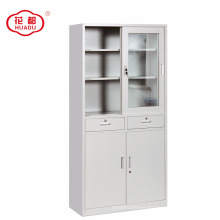 Half glass sliding door office storage cupboard / glass & iron sliding door steel cabinet
