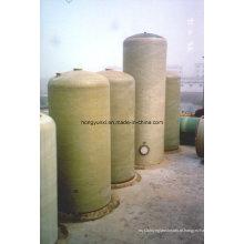 Tanque ou vaso de fibra de vidro para tratamento químico ou de água