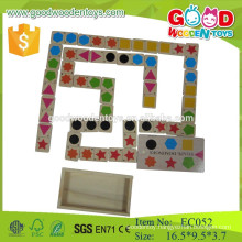shape match wooden domino game with box