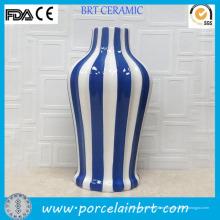 Glasierte Keramik Classic Streifen blau-weiße Vase