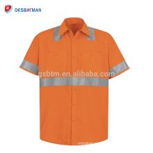 Fabricante chino al por mayor 100% poliester naranja trabajo de seguridad polos con cintas reflectantes y bolsillos clase 3