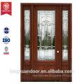 Mahogany wood entry double door glass design solid wood entry door