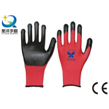 Red Polyester Shell Natrile Coated Safety Work Glove (N7003)