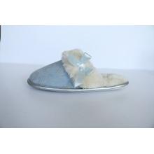 Microfibra con estampado para pantuflas de interior para mujer