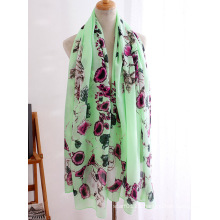 Lady Fashion Flower Skull Printed Viscose Silk Scarf (YKY1151)