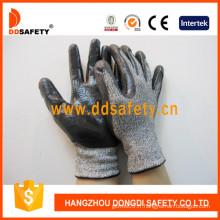 Gants de travail tricotés noir et blanc Hppe et spandex 13G (DCR118)