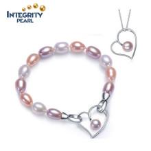 Ensemble de bijoux de perles de conception le plus récent Ensemble de perles de perles d'eau douce 100% naturel Ensemble de perles de mode argenté 925