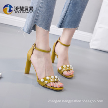 Beautiful pearl accessories summer open toe sandals 2018 womens shoes