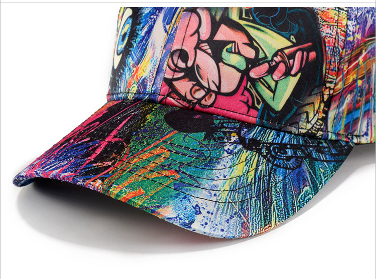 Man skull cap abstract doodle baseball cap (8)