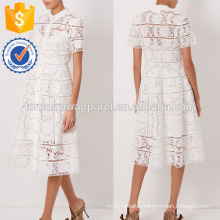 New Fashion Off White Floral Lattice Drawn Dress Manufacture Wholesale Fashion Women Apparel (TA5284D)