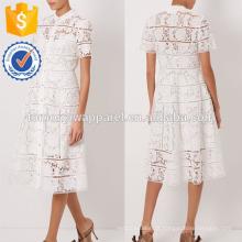 New Fashion Off White Floral Lattice Vestido Desenhado Fabricar Atacado Moda Feminina Vestuário (TA5284D)