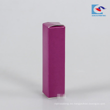 caja de brillo de labios de embalaje de papel púrpura con etiqueta privada