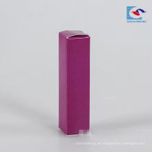 caixa de gloss labial de papel roxo com etiqueta confidencial