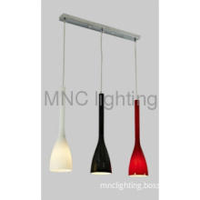 modern pendant lamp in dinner room with 3 difference color glass shade