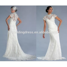 WD0145 gilet en mousseline de soie appliqué sur tulle en uniforme avec robe intégrale avec satin linning encolure illusion neckline robe de mariée 2014