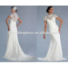WD0145 capa de renda de luva appliqued em vestido de renda de tul mesmo com cetim linning laço ilusão decote vestido de noiva 2014