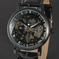 Winner golden alloy case leather band mechanical watch