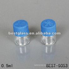 0.5 ml botella de vidrio de tubo transparente pequeño con tapa de rosca de plástico usando embalaje químico