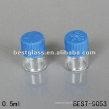 0.5ml petite bouteille en verre claire de tube avec le chapeau à visser en plastique utilisant l'emballage chimique