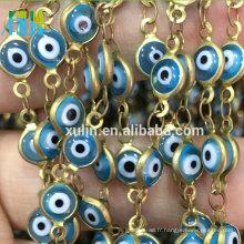 Chaîne de perle de chapelet de fil en métal blanc d'oeil de Turquie de couleur blanche bleue