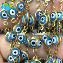 Blue White Color Turkey Evil Eye Metal Wire Rosary Beads Chain