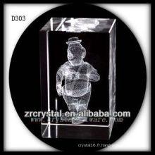 Image gravée au laser 3D de K9 à l'intérieur du rectangle en cristal