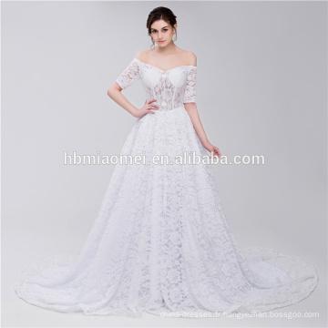Décolleté Scoop décolleté Off épaule bretelles dentelle élégante robe de mariée musulmane