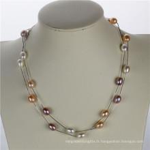 Snh 925 en argent sterling véritable véritable perle Collier bijoux en gros