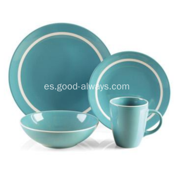 16 pieza gres cena conjunto Teal Color con borde blanco