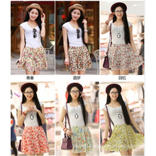 Wholesale Hot Sale Meadow Print Women Mini Chiffon Skirt