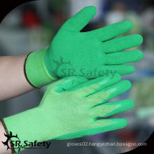 SRSAFETY 13 gauge knitted liner coated foam latex on palm/ latex working glove,High quality