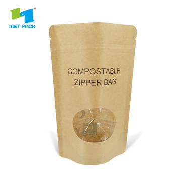 Bolsas biodegradables compostables de papel kraft con ventana