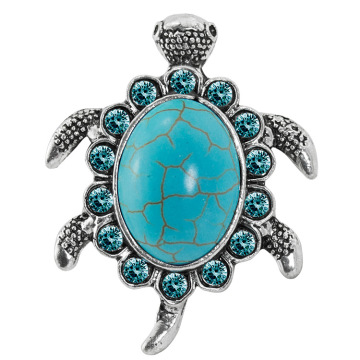 Women's Fashion Turquoise Tortoise Pattern Blue Rhinestone Inlaid Finger Ring