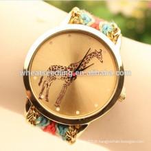 Giraffe photos bracelet en tissu montre chinoise