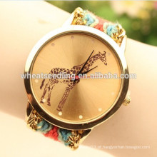 Girafa fotos tecido pulseira relógio chinês