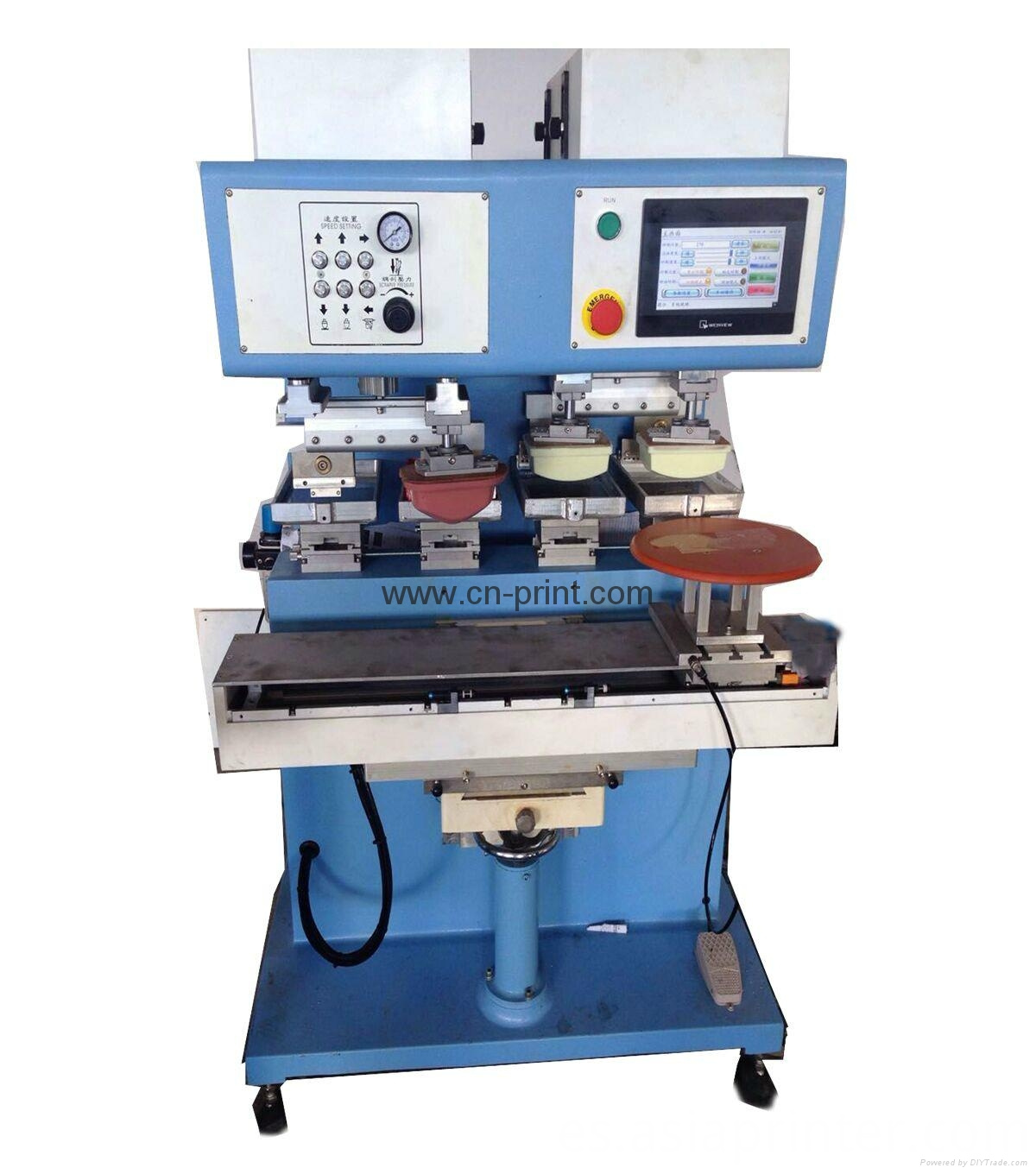 4 color independent pad ink well pad printing machine