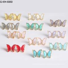 Lovely Versatile Color Crystal Butterfly Earrings Female S925 Sterling Silver Needle Earrings Jewelry